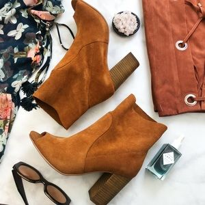 Whiskey Suede Open Toe Booties